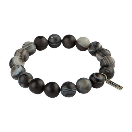 Stainless Beads Grey Agate 10MM Bracelet, , seriouscigars