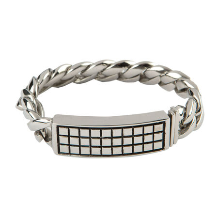 Stainless Raised Checker 8.5 In. Bracelet, , seriouscigars