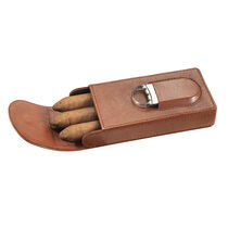 Caldwell Brown Leather Cigar Case with Cutter - 3 Cigars, , seriouscigars