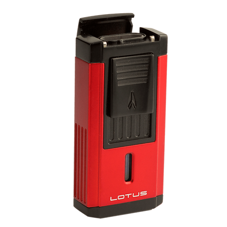 Red and Black Duke Triple Torch Lighter With Cutter, , seriouscigars